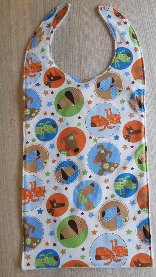 Childrens Flat Style Long Length Clothing Protector - Doggies