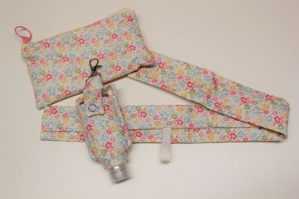 Shopping Trolley Handle Cover Set with hand sanitiser - Floral