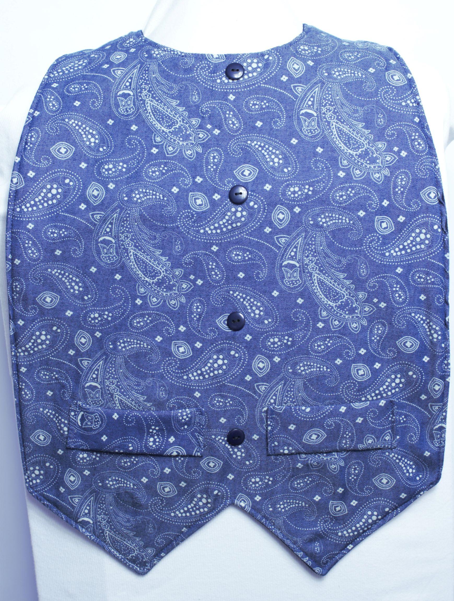 Denim Paisley Waistcoat Style - Extra Protect Long Length Clothing Protector