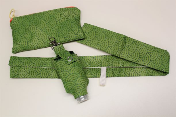 Shopping Trolley Handle Cover Set with hand sanitiser - Green Deco